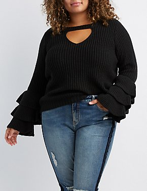 Plus Size Cut-Out Tiered Bell Sleeve Sweater