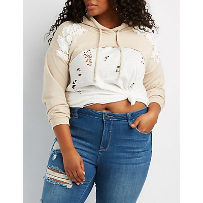 Plus Size Embroidered-Trim Cropped Hoodie