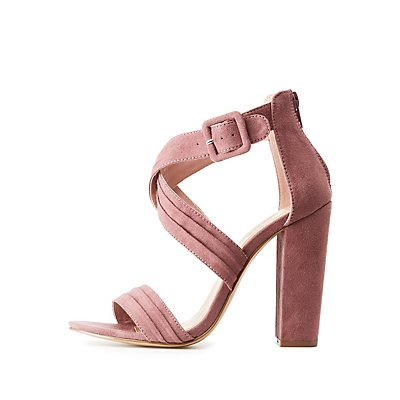 Strappy Suede Open Toe Pumps