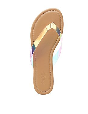 Holographic Thong Sandals