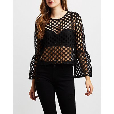Fishnet Bell Sleeve Top