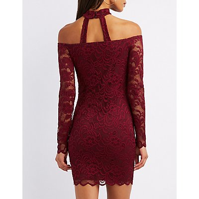 Choker Neck Off-The-Shoulder Lace Bodycon Dress