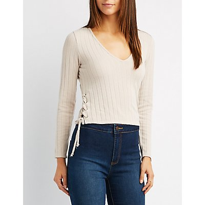 Ribbed Lace-Up Sides Crop Top