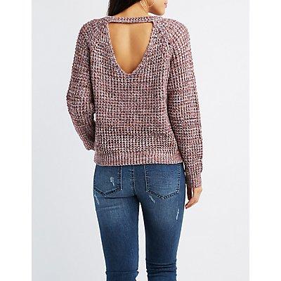 Shaker Stitch Marled Open-Back Sweater