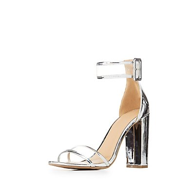 Metallic & Clear Ankle Strap Sandals