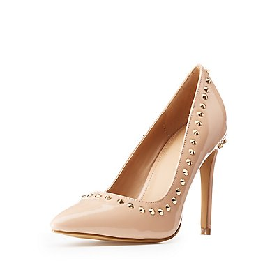 Stud Patent Pointed Toe Pumps