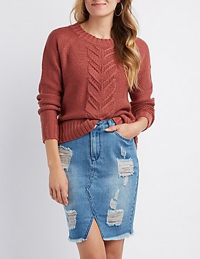 Mixed Knit Pullover Sweater