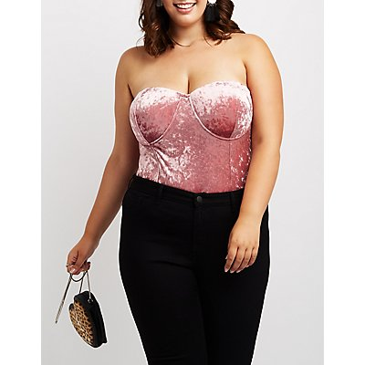 Plus Size Crushed Velvet Bustier Top