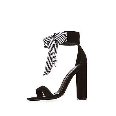 Gingham Ankle Strap Sandals