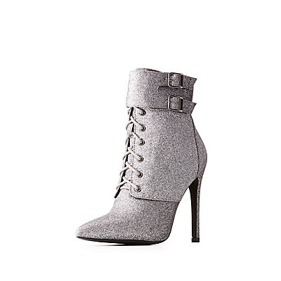 Glitter Lace-Up Stiletto Booties