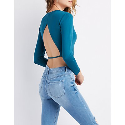 Long Sleeve Open Back Crop Top