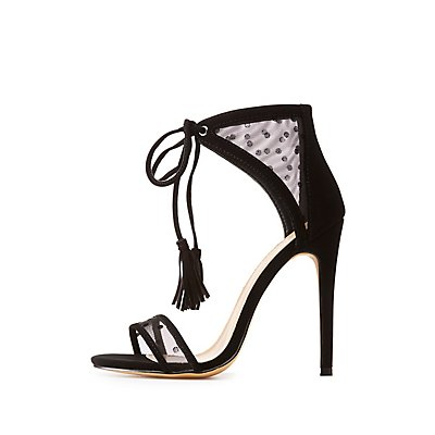 Swiss Dot Mesh Two-Piece Sandals