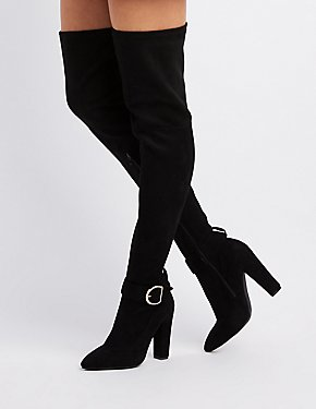 Bamboo Buckled Over-The-Knee Boots