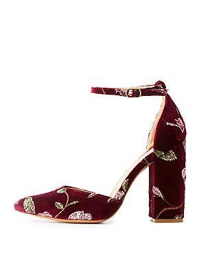 Velvet Embroidered Pointed Toe Pumps