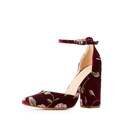 Velvet Embroidered Ankle Strap Pump