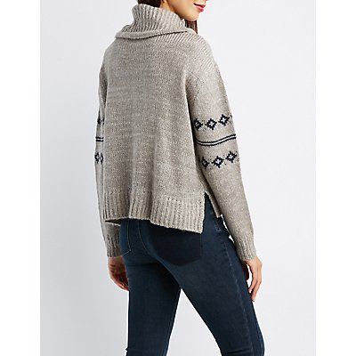 Printed Turtle Neck Pullover Sweater