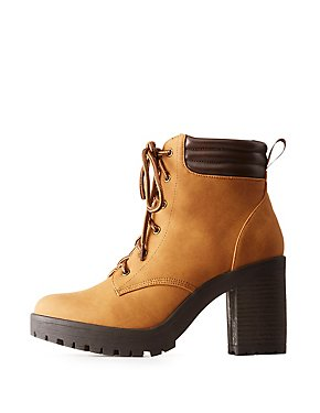 Faux Nubuck Lug Sole Combat Booties
