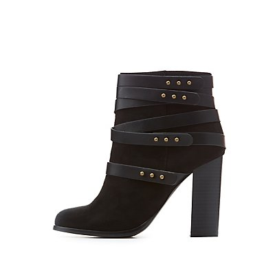 Faux Suede Harness Ankle Booties