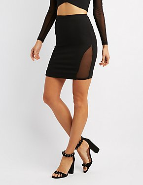 Mesh-Inset Pencil Skirt