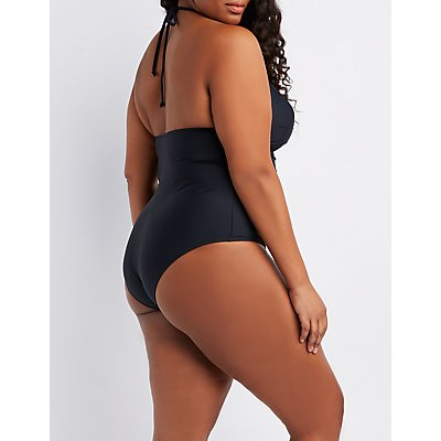 Plus Size Caged Halter One-Piece Swimsuit