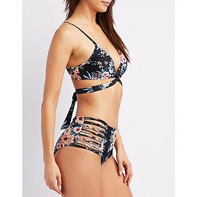 Floral Wrap-Tie Bikini Top