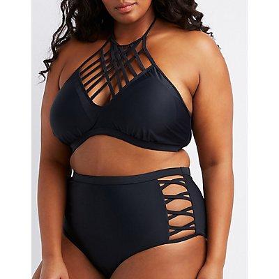 Plus Size Lattice High-Waist Bikini Bottoms
