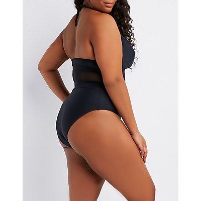 Plus Size Mesh-Insert Halter One-Piece Swimsuit