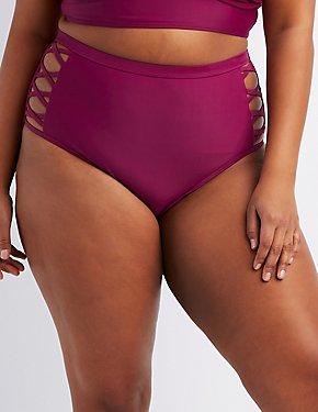 Plus Size Caged High-Waist Bikini Bottoms