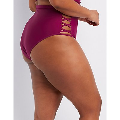 Plus Size Caged High-Waist Bikini Bottoms