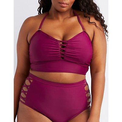 Plus Size Caged Longline Bikini Top