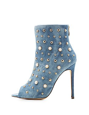 Pearl & Stud Detail Peep Toe Booties