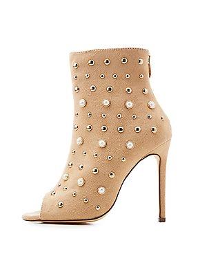 Pearl & Stud Detail Peep Toe Booties