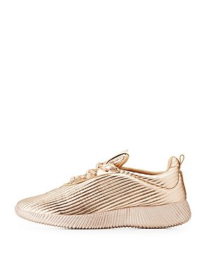 Striped Textured Lace-Up Sneakers