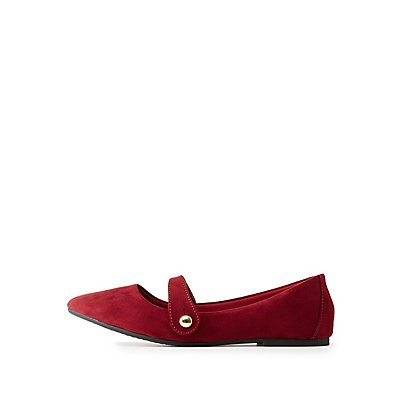 Bamboo Pointed Toe Strap Flats
