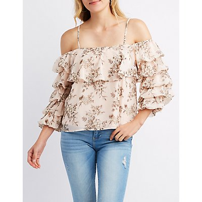 Floral Pintuck Sleeve Cold Shoulder Top