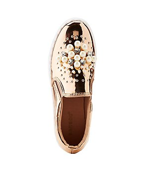 Bamboo Faux Pearl & Crystal Metallic Slip-On Sneakers