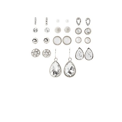 Crystal Stud & Drop Earrings - 12 Pack