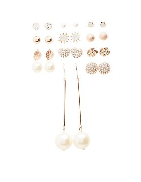 Embellished Stud & Drop Earrings - 12 Pack