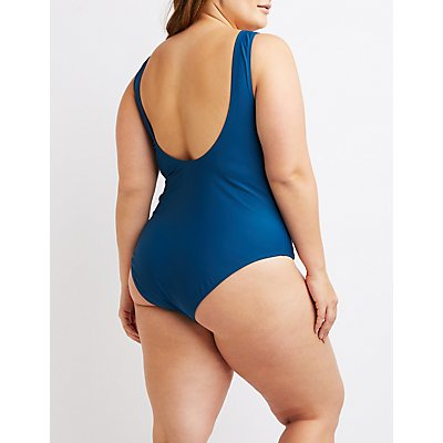 Plus Size Strappy Lace-Up One-Piece Swimsuit