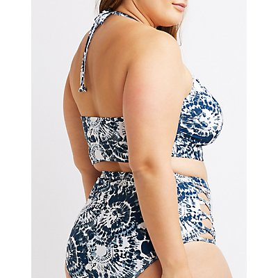 Plus Size Tie-Dye Caged Longline Bikini Top