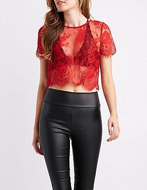 Sheer Floral Lace Crop Top