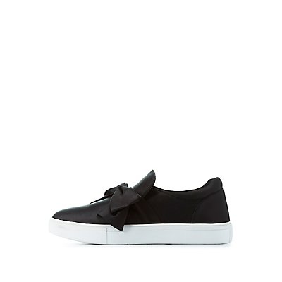 Satin Bow Slip-On Sneakers