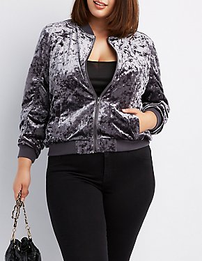 Plus Size Crushed Velvet Bomber Jacket