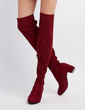 Bamboo Faux Suede Almond Toe Over-The-Knee Boots