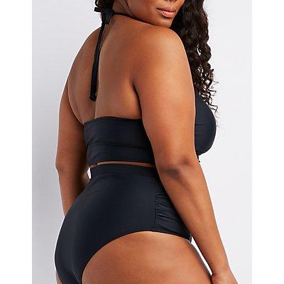 Plus Size Caged-Front Longline Bikini Top