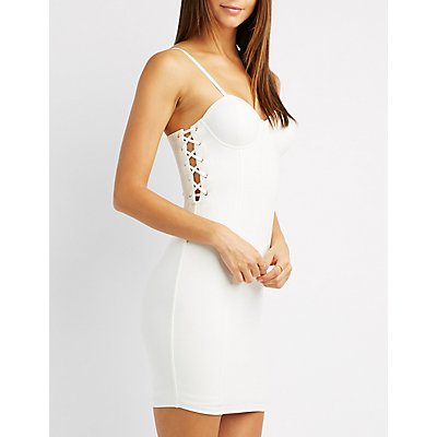 Lace-Up Detail Bustier Bodycon Dress