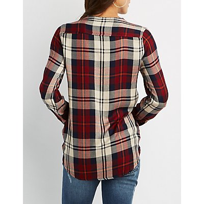 Lace-Up Plaid Shirt