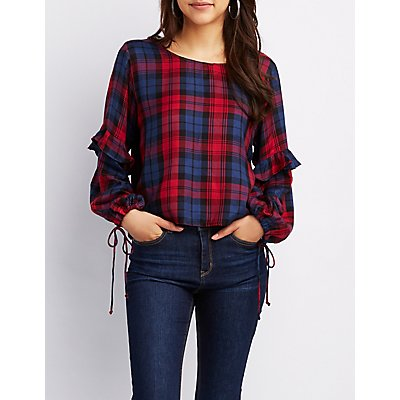 Plaid Ruffle-Trim Tie-Sleeve Top