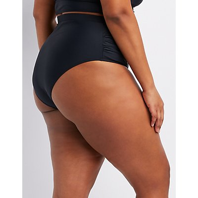 Plus Size High-Waist Ruched Bikini Bottoms