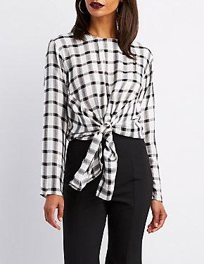 Plaid Front Tie Top
